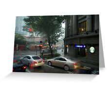 Streets of Singapore city under the rain Greeting Card