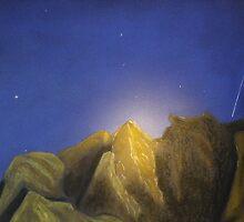 Moon Glow in A Shooting Star Sky by David M Scott