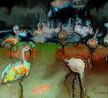 Flamingos Gathering by arline wagner