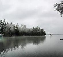 Green Boathouse - Snowy April Day -- Bridgton,  Maine by T.J. Martin