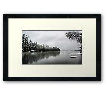 Green Boathouse - Snowy April Day -- Bridgton,  Maine Framed Print