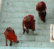 Monks in Yangon (Rangoon) by Ian Douglas