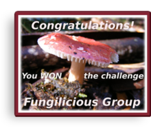 New Winners banner. Fungilicious group. Canvas Print