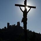Cross and Castle, Grimaud, France. by Peter Stone