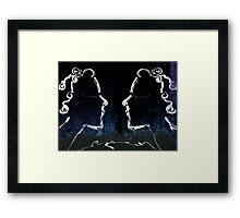 twins blue Framed Print