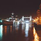 HMS Belfast with Tower Bridge in the background. by Peter Stone