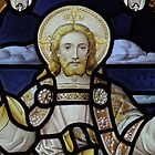 Stained glass window depicting Jesus Christ Blessing by ACSPhoto