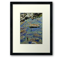 Knee deep in Riomaggiori Harbour Framed Print