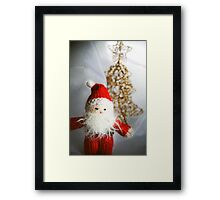 Little knitted Santa loves Christmas Framed Print