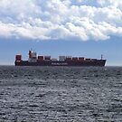 Container Ship off Cordova Bay by George Cousins
