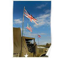 WW 2, GMC US Army truck with flags Poster