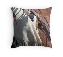 The Wild West - Tooled Leather Throw Pillow