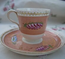 small cup with beautiful heather painting by brigdale