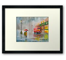 RED BUS UMBRELLA OIL PAINTING by Gordon bruce Framed Print