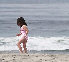 Shell Seeker on the Beach by BornBarefoot