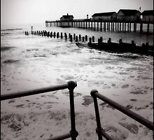 Southwold Pier Winter Waves by Trevor Durrant