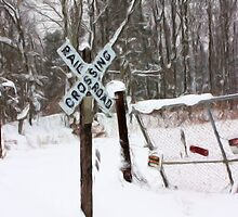 Railroad Crossing in the snow digital painting by capturingsmiles