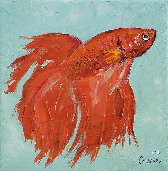 Siamese fighting fish by michael creese redbubble for Betta fish painting