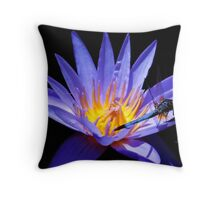 Dragonfly and Water Lily Throw Pillow