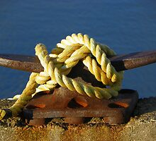 Mooring Knot on a Rusty Cleat by MaryinMaine
