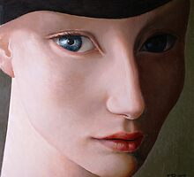 Young woman with a black hat. by ipalbus-art