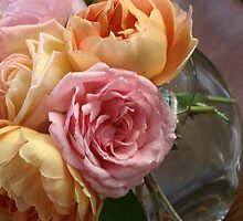 bowl of David Austin roses by JulesVandermaat