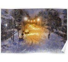 Snowy Night - Belgium Poster