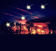 Shooting stars over a fiery forest by fiefed