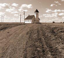 Prairie Church in Sepia by Zack Ireland
