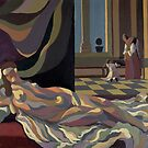 sleeping queen in bed with dog  by Alan Kenny