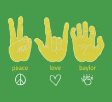 Peace Love Baylor [gold/white] by Lauren Laumbach