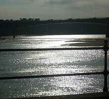 Late sunlight in March reflecting on the Taw estuary under the new town bridge at Barnstaple by Leyh