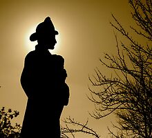 Silhouette of Fireman  by skphotos
