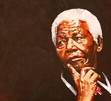 NELSON MANDELA ON BLACK by mindwave