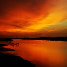 River Sunset in Sabah  by Peter Dor
