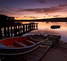 Boatshed at Sunrise, Margate Tasmania by Chris Cobern