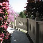 Gourley Garden Sidewalk with Fence by JeffeeArt4u