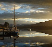 Blue and Gold sunrise on the Huon River by Mark Hanna