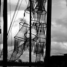 Fishing nets in sun at the river IJssel Netherlands by patjila