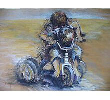 A boy and his trike Photographic Print