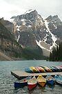 Moraine Lake w canoes by JimSanders