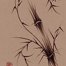 &quot;As One&quot;  Original brush pen sumi-e bamboo drawing/painting by Rebecca Rees
