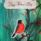 Happy Mother&#x27;s Day Red Robin On Cherry Tree by Carrie Jackson