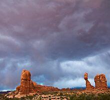 Storm Over Balanced Rock by Kim Barton