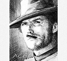 Clint Eastwood Original ACEO sketchcard by wu-wei