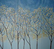Moon lit trees by viveca