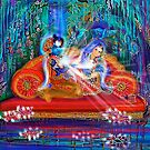 Radiant Krishna in the love grove with Radha by Rita  Hraiz
