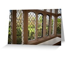 Garden Green Through the Tudor Window: Hall Place, Kent. UK. Greeting Card