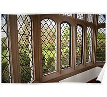 Garden Green Through the Tudor Window: Hall Place, Kent. UK. Poster