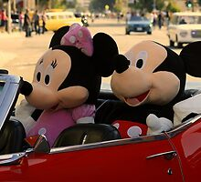 Mickey And Minnie Go On A Sunday Drive by CarolM